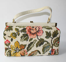 Vintage 1960s VERDI Floral Carpet Bag Needlepoint Tapestry Brocade Purse Handbag