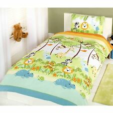 JUNGLE BOOGIE SINGLE DUVET COVER SET KIDS ANIMALS LION ELEPHANT ZEBRA