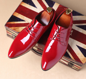Mens Brogues Patent Leather Pointed Toe Lace Up Dress Oxfords Formal Shoes Size