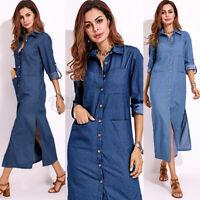 US STOCK Women Denim Blue Kaftan Long Sleeve Buttons Down Tunic Shirt Dress Plus