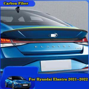 For Hyundai Elantra 2021-2022 carbon fiber Rear Tail Trunk Spoiler Wing Lip Trim