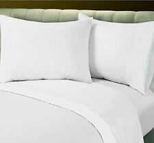 1 NEW BRIGHT WHITE COTTON BLEND FLAT SHEET QUEEN XL & 2 STANDARD PILLOWCASE T250