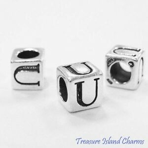 Letter U 925 Solid Sterling Silver Alphabet 7mm Block Bead 5mm Hole Diameter
