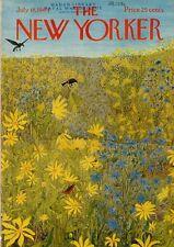 1964 New Yorker Magazine COVER ONLY Ilonka Karasz Art Animals in Wildflowers