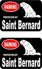 2 protected by Saint Bernard dog car bumper home window vinyl decals stickers