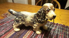 "Vintage Composition SPANIEL DOG FIGURE 6""X5"", Glass Eyes, Ring in Mouth,Blk,Brn"