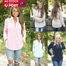 AU Women Winter Zipper High Neck Pullover Jumper Sweater Casual Tracksuit Blouse