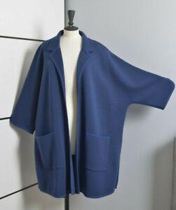 DEVERNOIS PARIS Women Cardigan XL Kimono Wool Open Front Coat Quirky Lagenlook