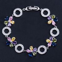 CWWZircons CZ Kristall Bunte Blume Charm Armbänder für Frauen Modeschmuck