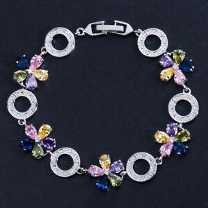 Ruby Red Cubic Zirconia Flower Round Charm Bracelets for Women Fashion Jewelry