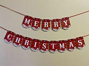 Merry Christmas Bunting Santa Xmas holiday elf Party Flag Hanging Banner CB176d