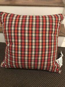 Ralph Lauren Ridgeview Plaid Black Cream Red Decorative Pillow ~New~