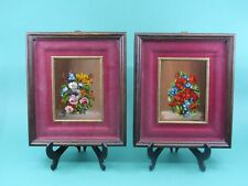 More details for pair antique small still life oil painting vase with flowers framed and signed