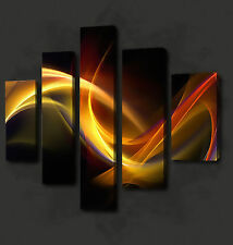 ABSTRACT ORANGE YELLOW WAVES 5 PANELS WALL ART CANVAS PRINT PICTURE READY HANG