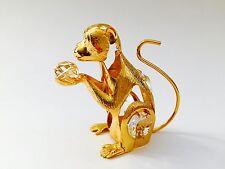"SWAROVSKI CRYSTAL ELEMENTS ""Monkey"" FIGURINE - ORNAMENT 24KT GOLD PLATED"