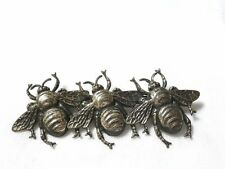 VINTAGE Joseff of Hollywood silver-plated TRIPLE 3 BEE BROOCH pin