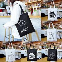 FP- Fashion Women Cartoon Cat Shopping Tote Canvas Shoulder Zipper Bag Handbag N