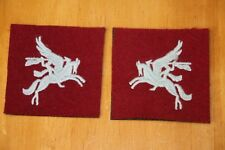 BRITISH ARMY AIRBORNE PEGASUS PATCHES PAIR WW2 PATTERN EMBROIDERED