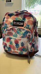 """Trans by JanSport 18"""" Dakoda Daypack Pastel Pineapples Backpack Travel Bookbag"""