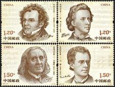 China Stamp-2017-22 Foreign Musicians Stamps-Schubert/Chopin/Liszt/Mahler-(II)