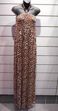 Maxi Dress Fits 1X 2X 3X Plus Brown Black Leopard Tube Sundress Long NWT 135