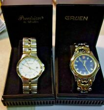 Lot of 2 GRUEN PRECISION WATCHES in original cases - both are 2 tone