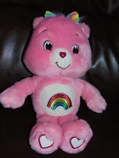 """Care Bears Plush Cheer Bear Teddy Pink Rainbow Bow 14"""" 2007"""