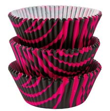 hot pink animal print cupcake liners paper cup muffin cases free shipping CK89