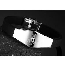 Black Unisex Men Women's Stainless Steel Rubber Silicone Free Mason Bracelet