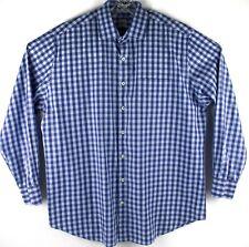 PETER MILLAR Blue Checkered Plaid Long Sleeve Shirt Size XL