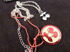 Pacha Ibiza Small Discreet Silver Cherry Logo with 2 Diamantes Necklace Gift Bag