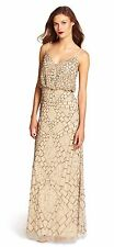 Adrianna Papell Nude Beige Sleeveless Beaded Blouson Gown - NWT Size 14 $340