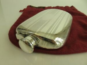 Napier Arts & Crafts Hand Hammered Sterling Silver Liquor Flask & Pouch c1915