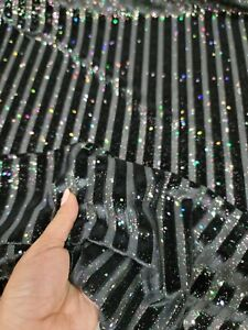 Fabric Sold By The Yard Black Striped Velvet Burnout Stretch Sparkly Iridescent
