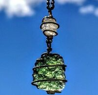MOLDAVITE & PHENAKITE Pendant REAL GOLD! Phenacite Crystal Necklace Synergy 12