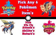 Pokemon Sword/Shield Pick Any 6 Shiny Pokemon (6IV, Pick Your Nature, EVs, ...)