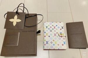 Unused Louis Vuitton Multicolor White Monogram Agenda PM Murakami Small Ring