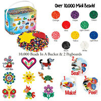 Hama 10,000 Multi Coloured Assortment Beads In A Bucket Refill & 2 Pegboards