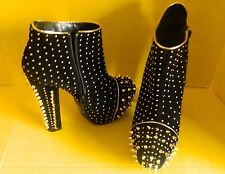 Women's High Heels - Pumps/Stilettos/Platform - Black - Gold Metal Spikes,Size 8