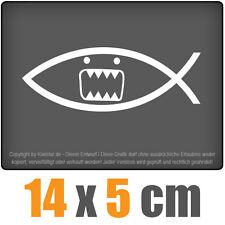 Domo Fisch 14 x 5 cm JDM Decal Sticker Auto Car Weiß Scheibenaufkleber