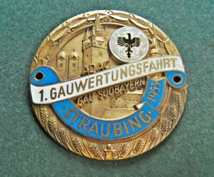 Plakette ADAC 1953 GAU SÜDBAYERN Gauwertungsfahrt Straubing Emaille