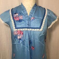 Vtg 70s Liberty House Hawaiian Caftan Maxi Dress Sz 9 Blue Pink Floral Aloha