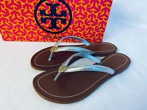 Tory Burch NIB Terra Thong Flat Sandals Veg Leather Silver Metallic MANY SIZES
