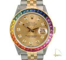Rolex Datejust Mens 36mm Two-Tone Gold 10 Diamond Dial Rainbow Bezel