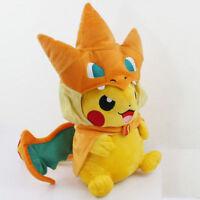 Pokemon Pikachu With Charizard hat Plush Soft Toy Stuffed New Animal Doll 10''