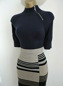 Karen Millen 3 Size 12 14 STRIPE FINE KNIT JUMPER DRESS