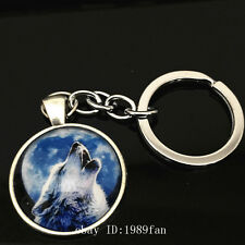 Vintage wolf Keychain Cabochon Tibetan silver Glass Metal Key Ring YK29