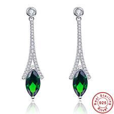 Women Wedding AAA Emerald 100% 925 Sterling Silver Gemstone Dangle Drop Earrings