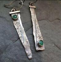 Ethnic Unique 925 Silver Emerald Handmade Hook Asymmetry Dangle Earrings Jewelry