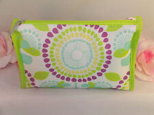 New Clinique Makeup Cosmetic Bag Case Purse Purple & Green Floral  Travel Home
